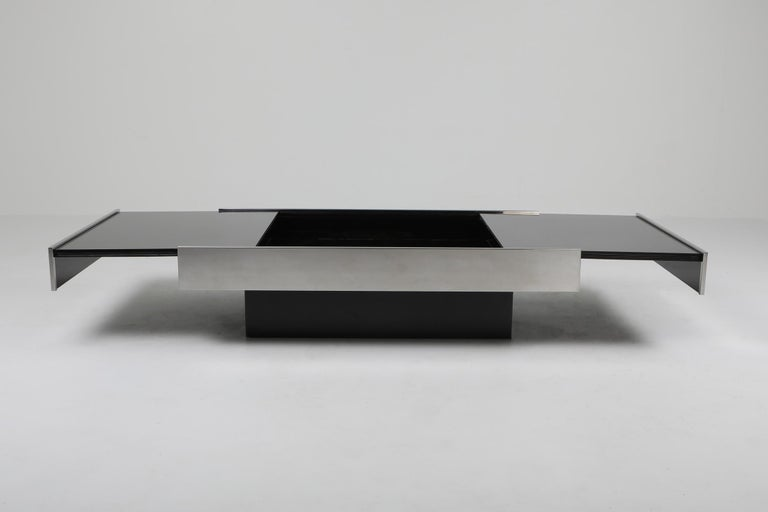 Italian Willy Rizzo Sliding Chrome Coffee Table for Cidue, Italy, 1970s