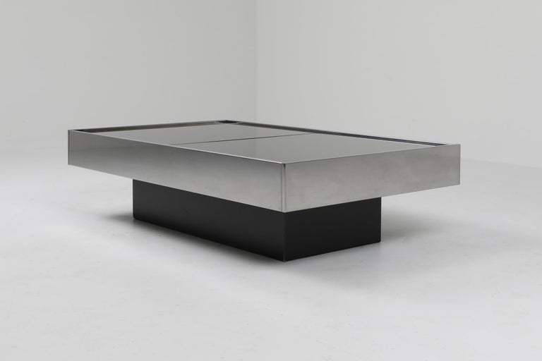 Willy Rizzo Sliding Chrome Coffee Table for Cidue, Italy, 1970s In Good Condition In Antwerp, BE