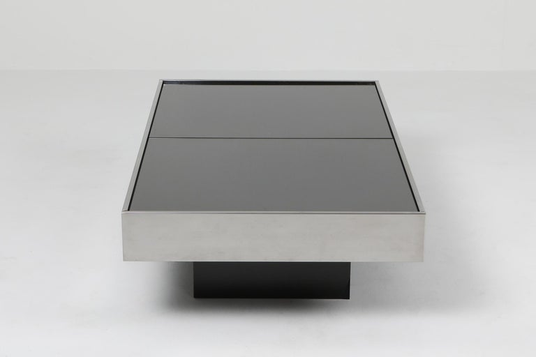 20th Century Willy Rizzo Sliding Chrome Coffee Table for Cidue, Italy, 1970s