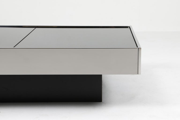 Mirror Willy Rizzo Sliding Chrome Coffee Table for Cidue, Italy, 1970s