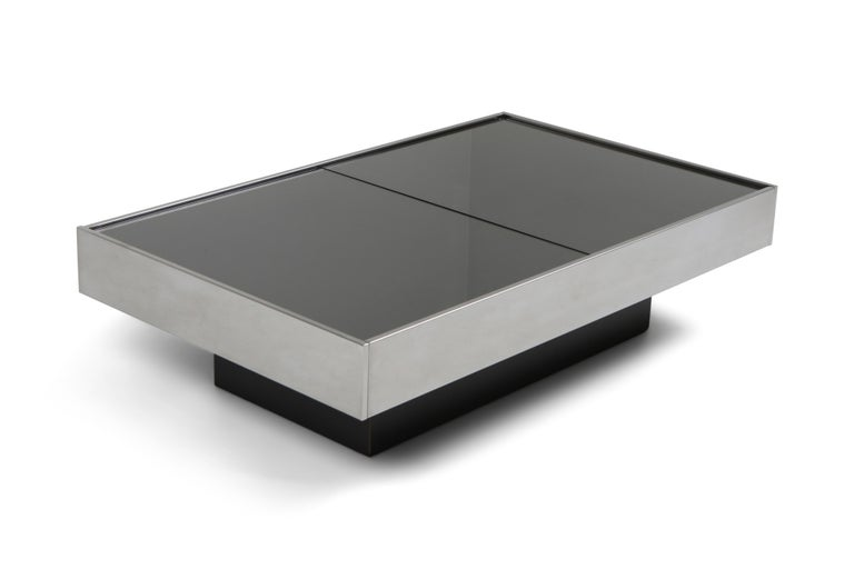 Willy Rizzo Sliding Chrome Coffee Table for Cidue, Italy, 1970s 2