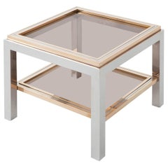Willy Rizzo Square Side Table in Brass, Chrome and Glass