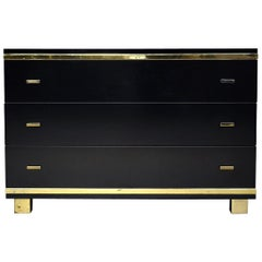 Willy Rizzo Style Black Drawer Cabinet with Brass Details, Italy, circa 1970
