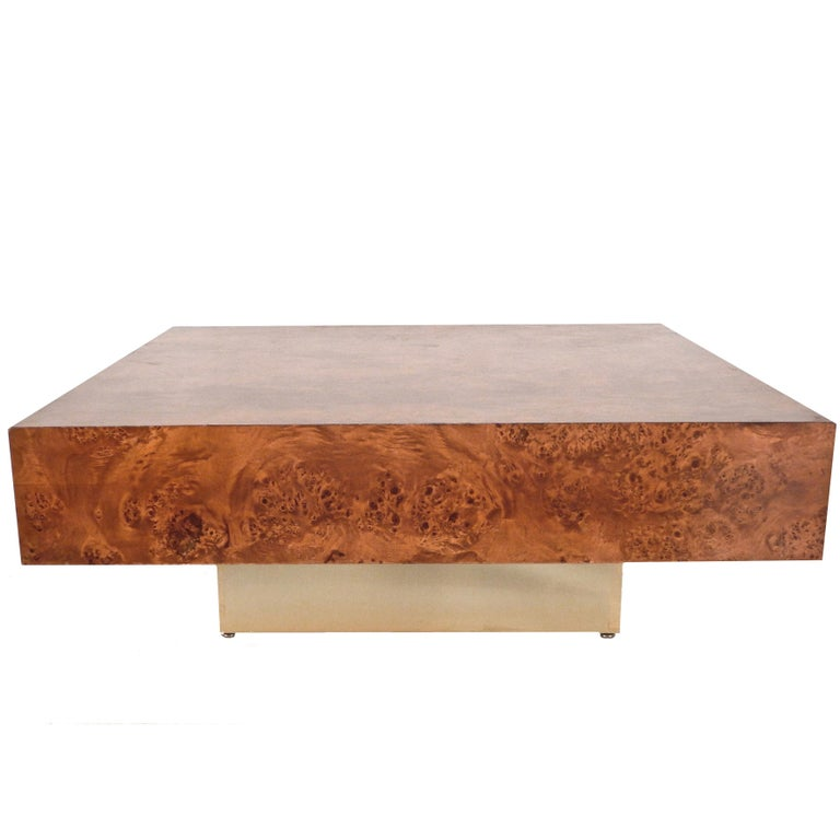 Square Steel Coffee Table Italian C 1970: Willy Rizzo Style, Burl Wooden Coffee Table Square With
