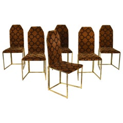Willy Rizzo Style Dining Chairs in Velvet and Gold, Italy, circa 1970