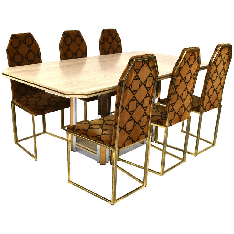 Chrome Dining Room Sets: Willy Rizzo Style Dining Set In Travertine, Brass And