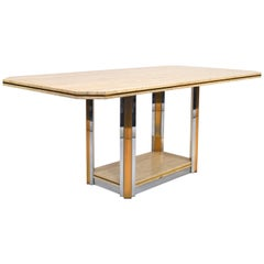 Willy Rizzo Style Dining Table in Travertine, Brass and Gold, 1970