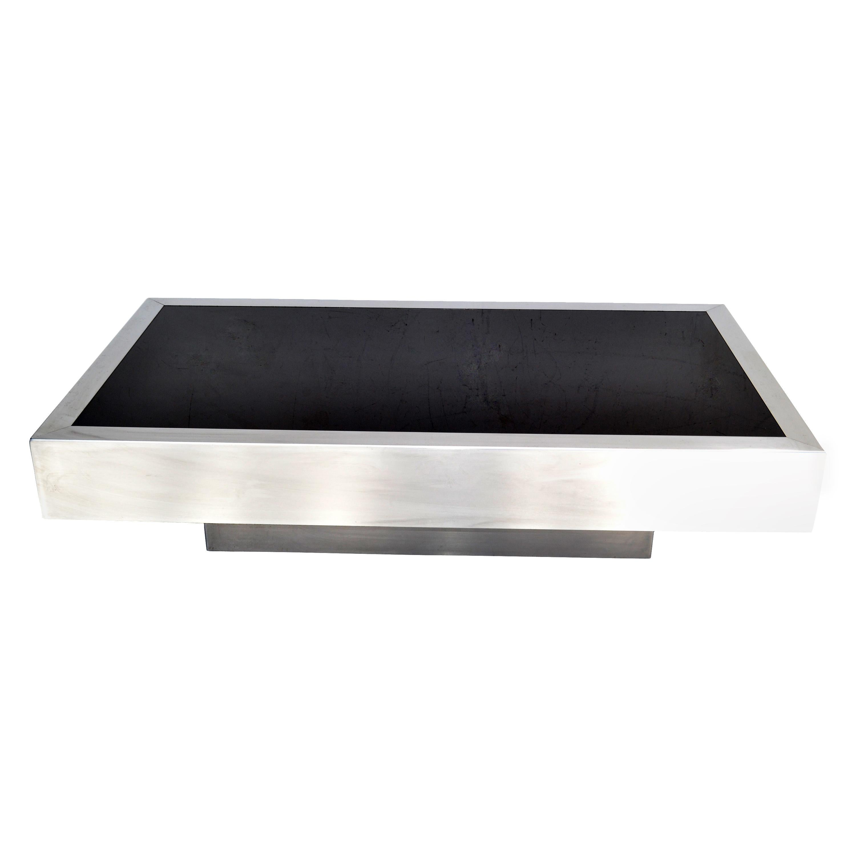 Willy Rizzo Style Italian Brushed Steel & Black Mirror Glass Coffee Table 1970