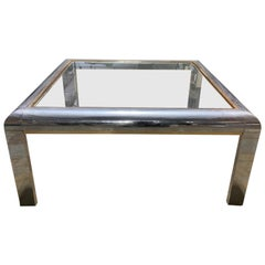 Willy Rizzo Style Italian Chrome and Gold-Plated Square Brass Coffee Table