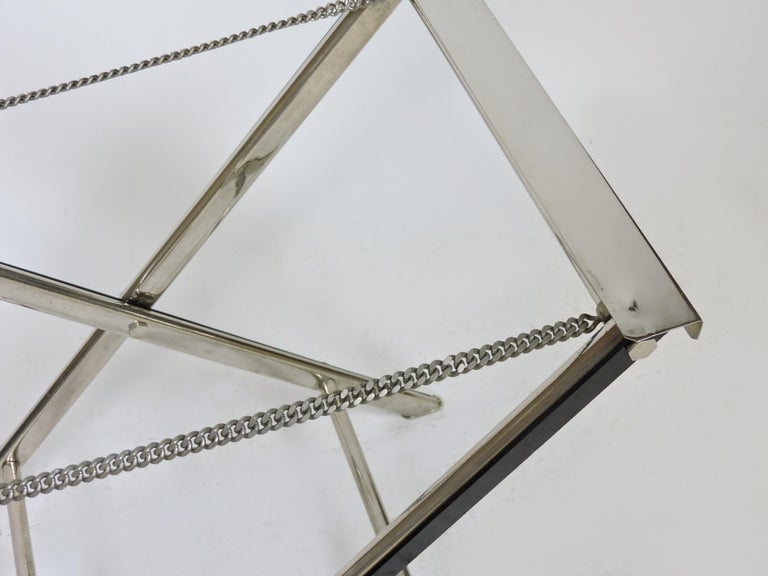 Midcentury Chrome Bar or Butlers Tray Table with Folding Stand Willy Rizzo Style For Sale 5
