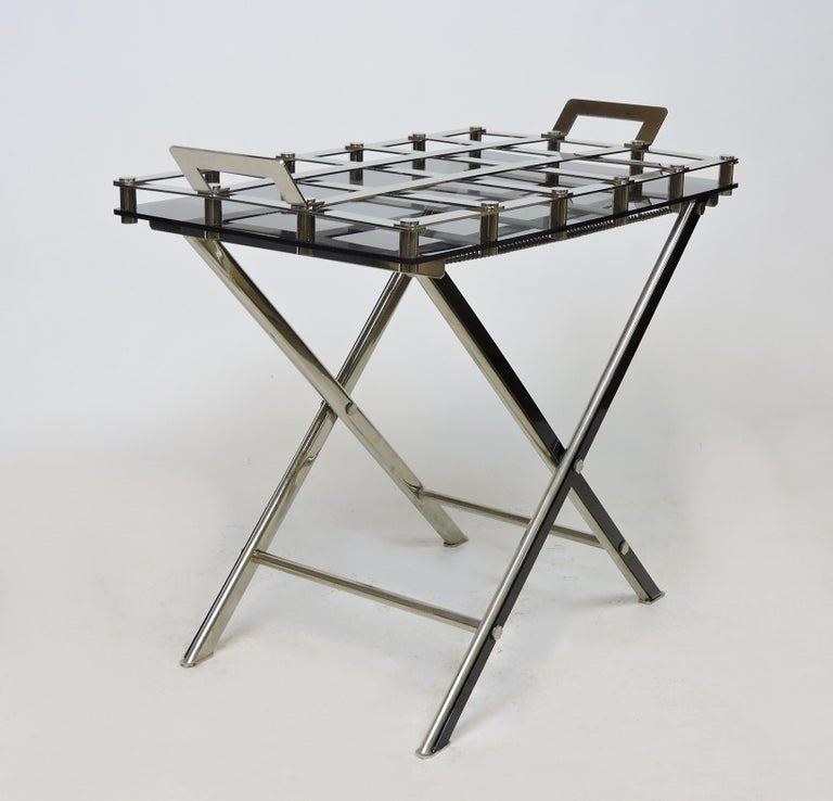 Midcentury Chrome Bar or Butlers Tray Table with Folding Stand Willy Rizzo Style For Sale 6