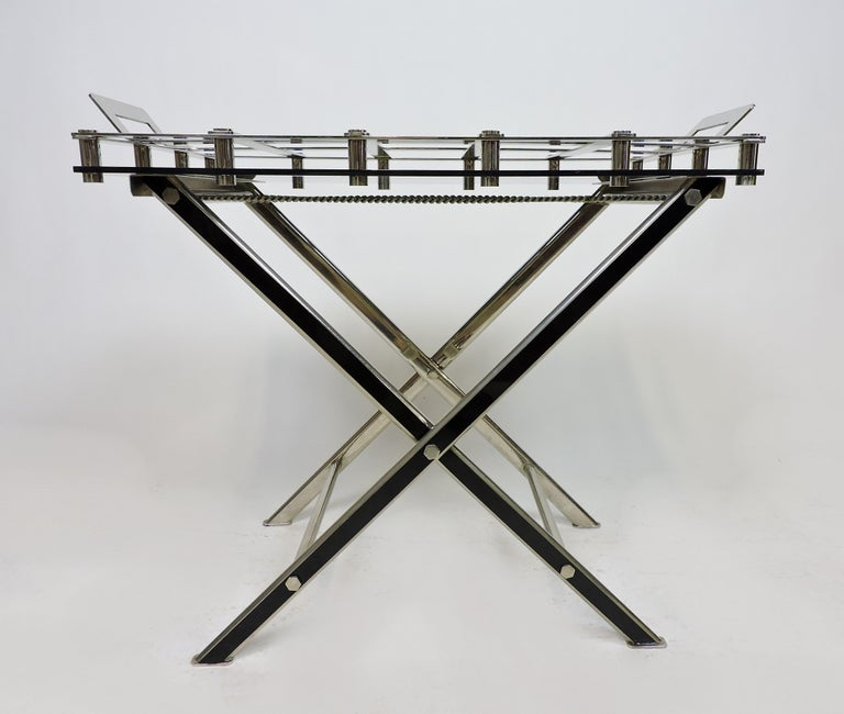 Hollywood Regency Midcentury Chrome Bar or Butlers Tray Table with Folding Stand Willy Rizzo Style For Sale
