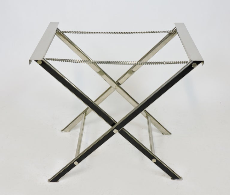 Italian Midcentury Chrome Bar or Butlers Tray Table with Folding Stand Willy Rizzo Style For Sale