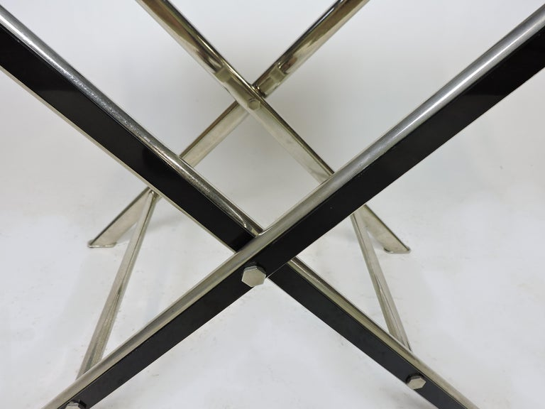 Midcentury Chrome Bar or Butlers Tray Table with Folding Stand Willy Rizzo Style For Sale 1