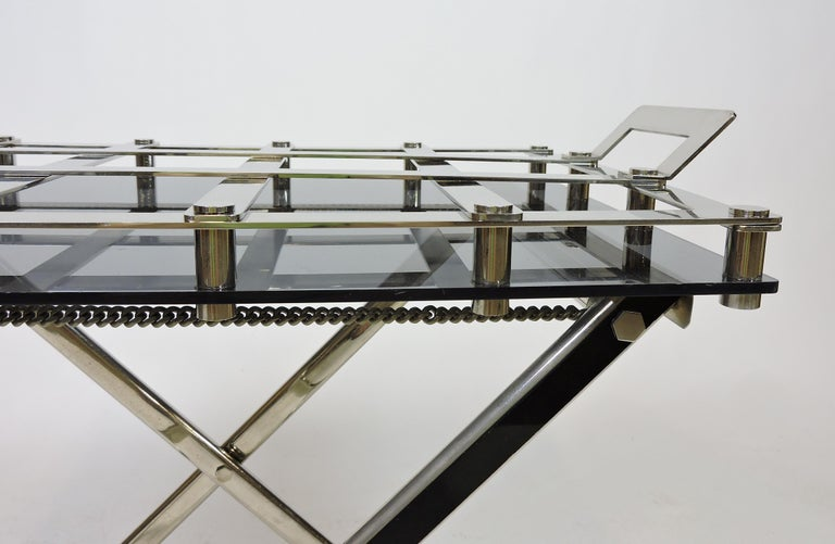 Midcentury Chrome Bar or Butlers Tray Table with Folding Stand Willy Rizzo Style For Sale 2