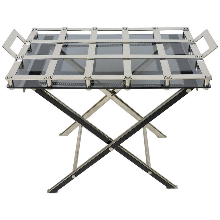 Midcentury Chrome Bar or Butlers Tray Table with Folding Stand Willy Rizzo Style For Sale