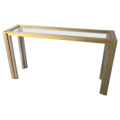 Willy Rizzo Style Mid-Century Modern Italian Aluminum, Glass, & Steel Console