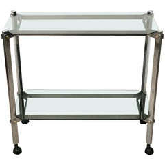 Willy Rizzo style Serving Cart Trolley in Chrome and Smoked Glass, Italy, 1970s