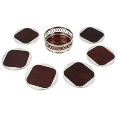 Willy Rizzo Style Tortoise Lucite and Chrome Coasters set with Holder