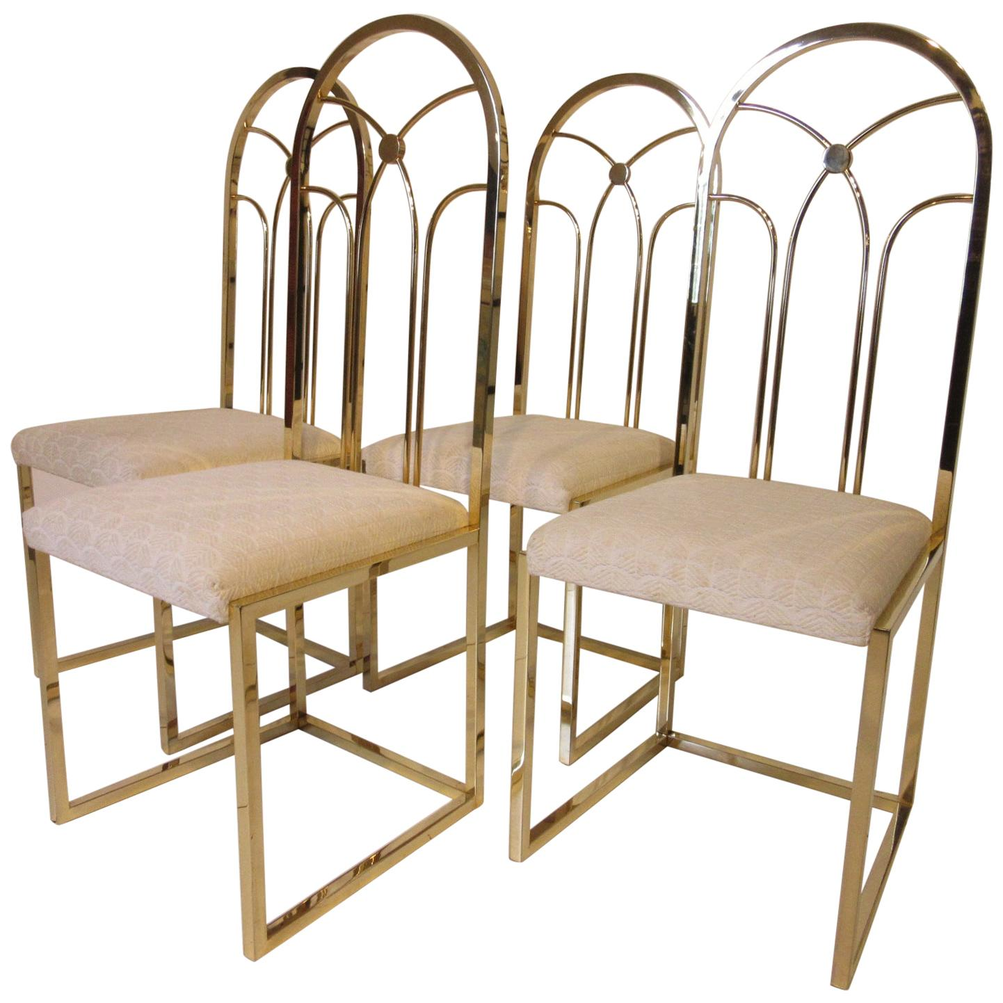 Willy Rizzo Styled Gold Gilded Dining Chairs