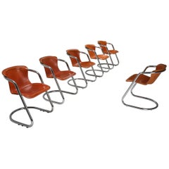 Willy Rizzo Tan Leather Chairs for Cidue