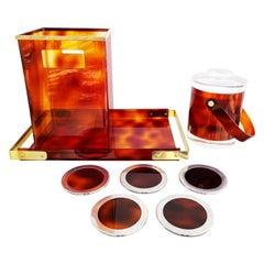 Willy Rizzo Tortoise Lucite Style Serving Set, 1970s