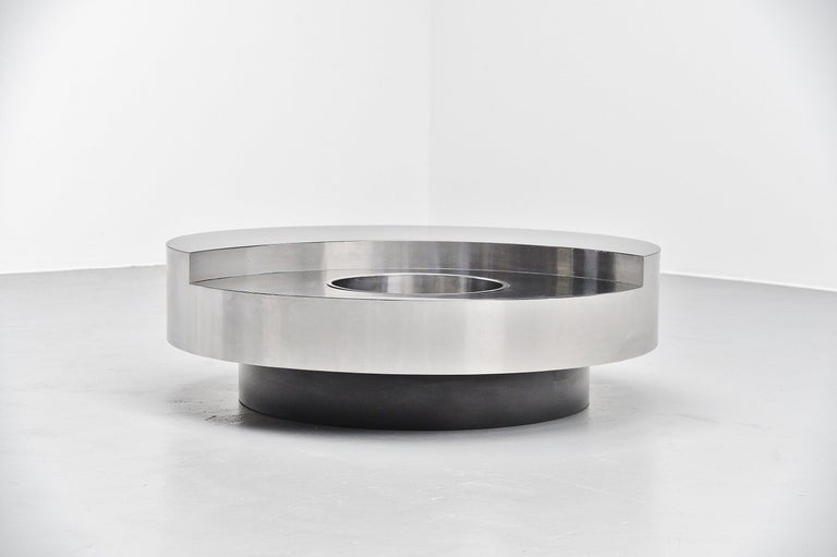 Mid-Century Modern Willy Rizzo TRG Revolving Coffee Table, Italy, 1970