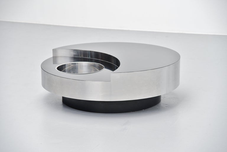 Italian Willy Rizzo TRG Revolving Coffee Table, Italy, 1970