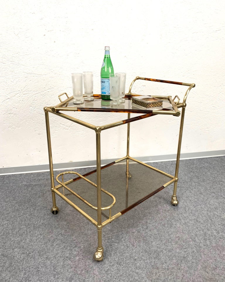 Mid-Century Modern Willy Rizzo Trolley with Service Tray Brass and Lucite Tortoise, Italy, 1980s For Sale