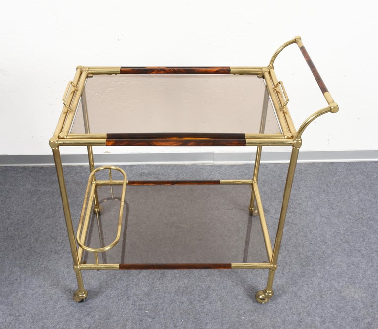 Late 20th Century Willy Rizzo Trolley with Service Tray Brass and Lucite Tortoise, Italy, 1980s For Sale