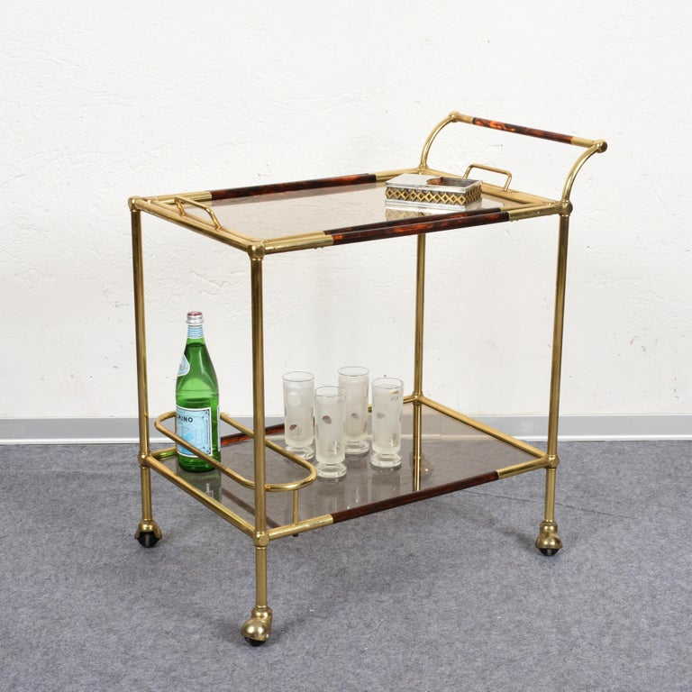 Tortoise Shell Willy Rizzo Trolley with Service Tray Brass and Lucite Tortoise, Italy, 1980s For Sale