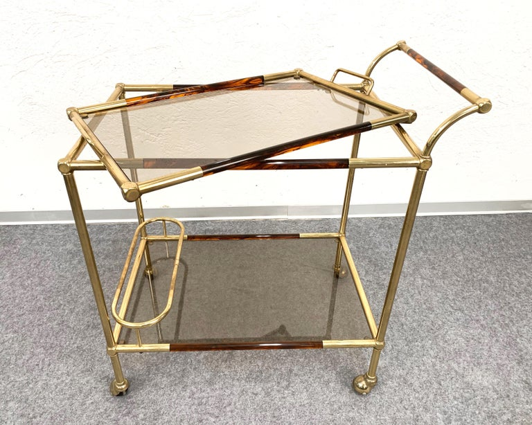 Willy Rizzo Trolley with Service Tray Brass and Lucite Tortoise, Italy, 1980s For Sale 1