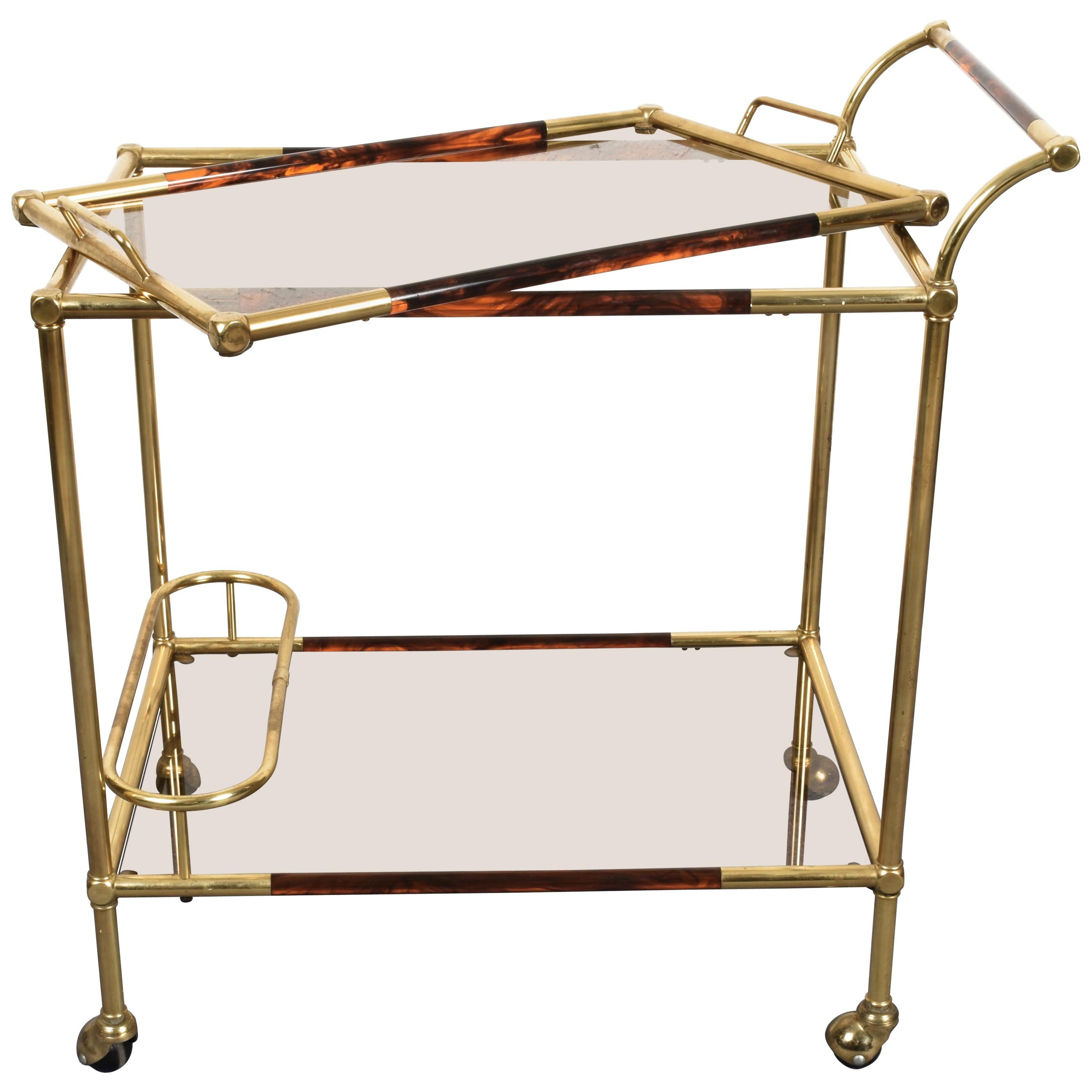 Willy Rizzo Trolley with Service Tray Brass and Lucite Tortoise, Italy, 1980s