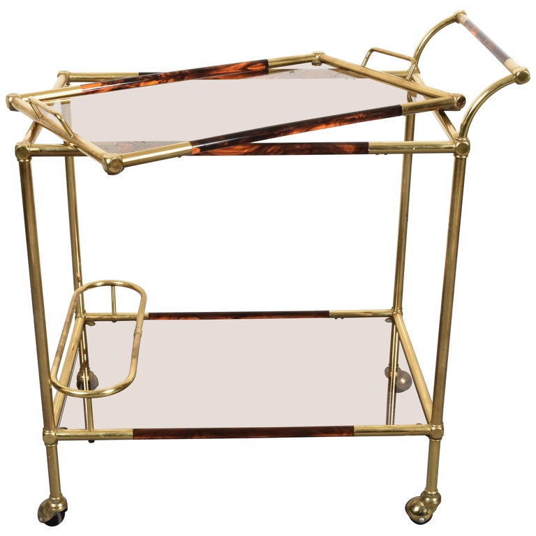 Willy Rizzo Trolley with Service Tray Brass and Lucite Tortoise, Italy, 1980s For Sale