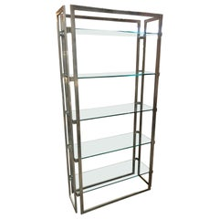 Willy Rizzo Vintage Chrome Bookcase, Italy, 1970s
