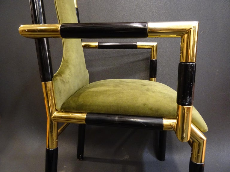 Willy Rizzo Workshop Pair of Armchairs, Green Velvet and Black Lacquered Wood For Sale 2