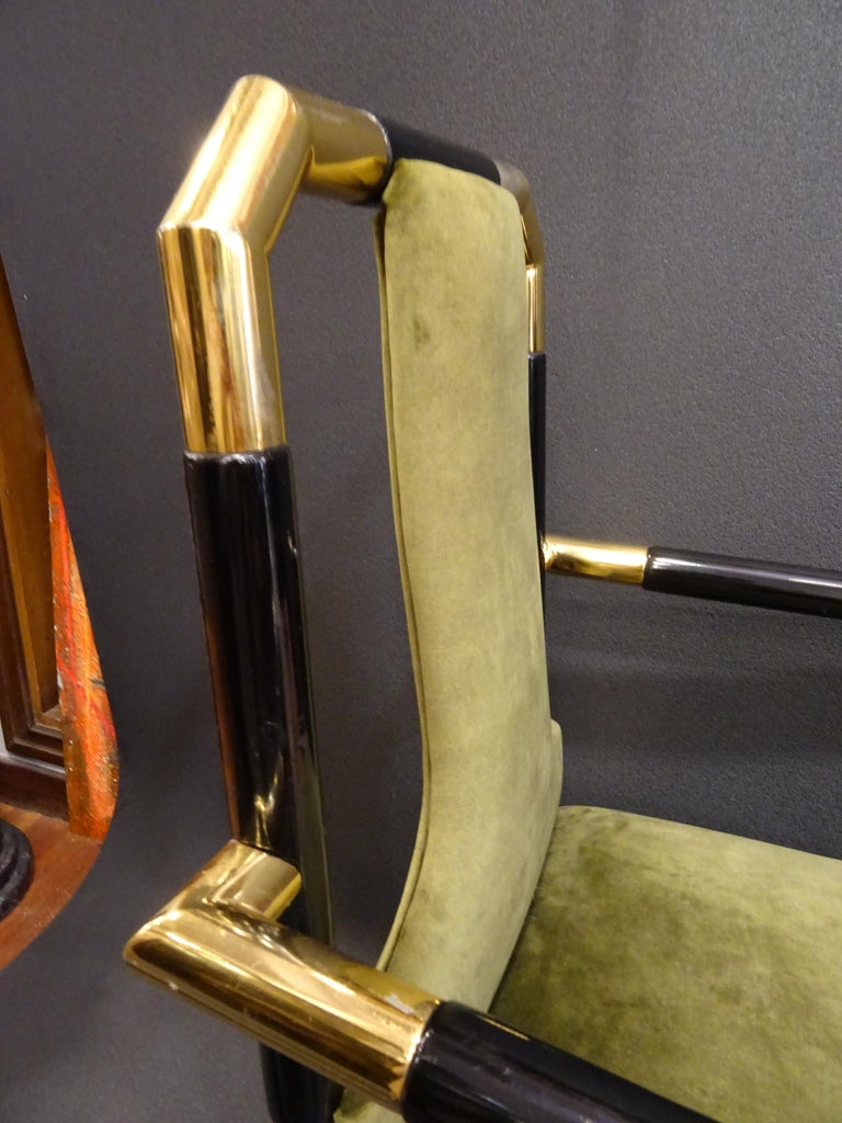 Willy Rizzo Workshop Pair of Armchairs, Green Velvet and Black Lacquered Wood For Sale 3