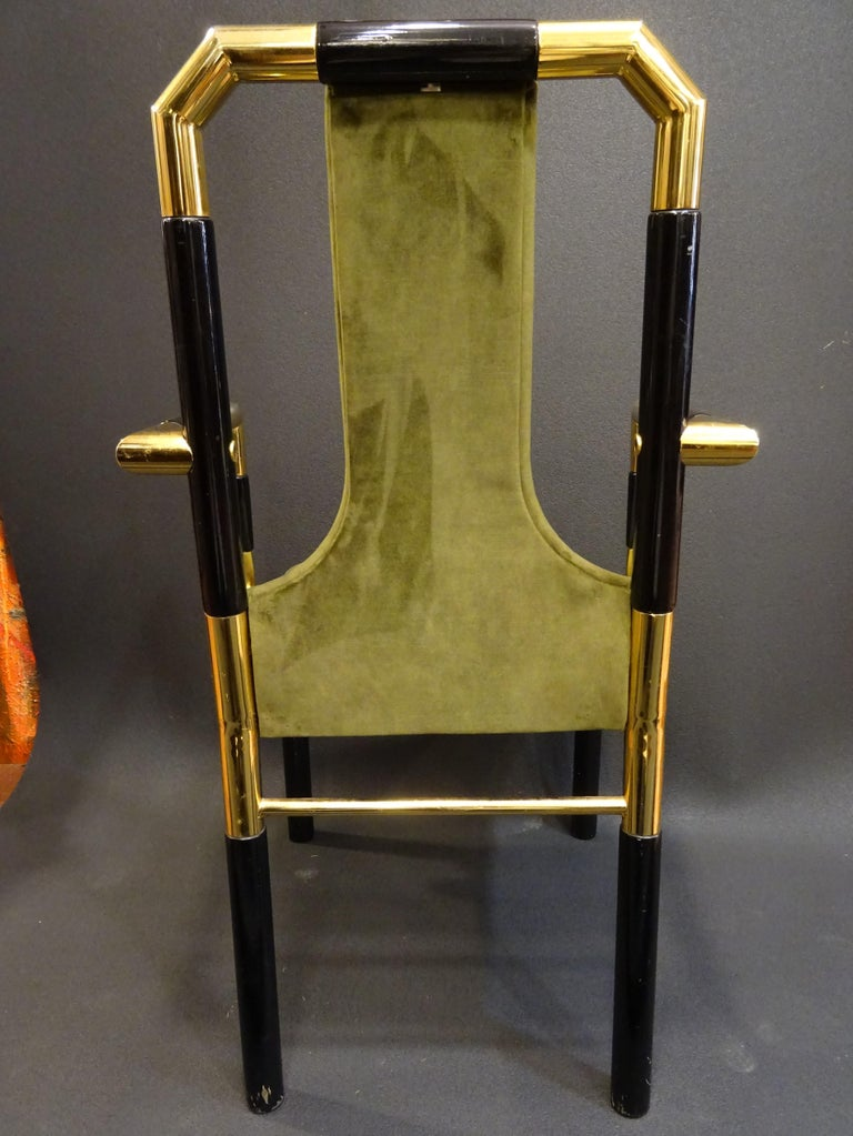 Willy Rizzo Workshop Pair of Armchairs, Green Velvet and Black Lacquered Wood For Sale 4