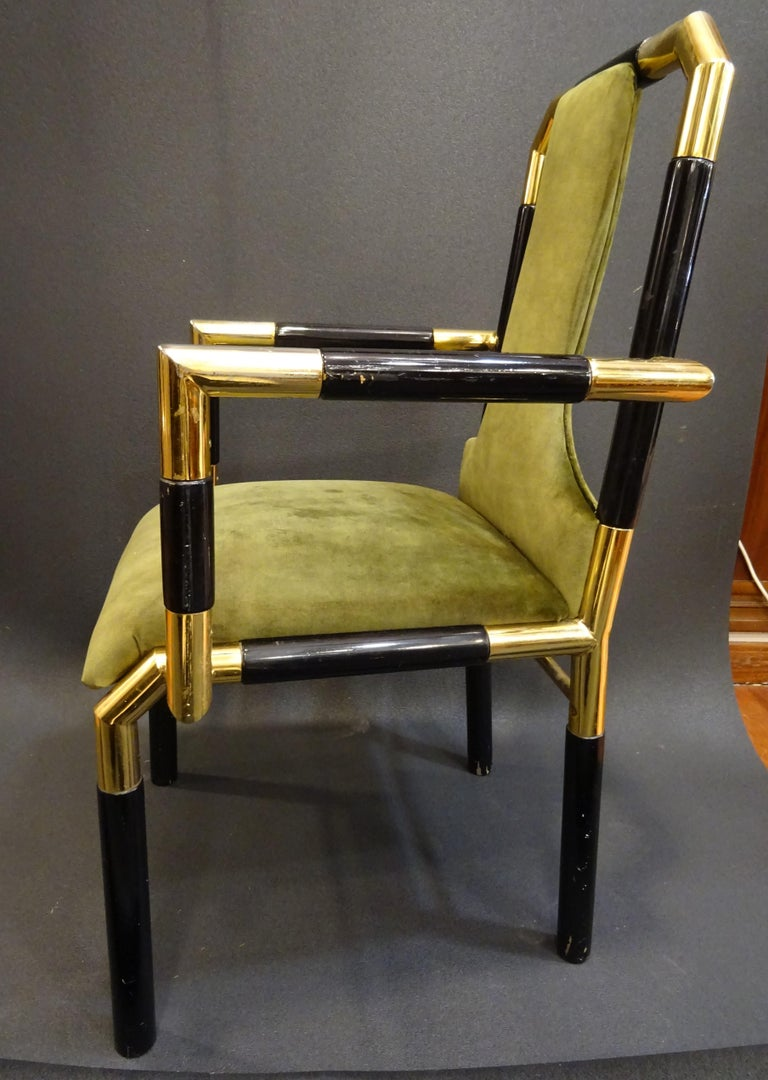 Willy Rizzo Workshop Pair of Armchairs, Green Velvet and Black Lacquered Wood For Sale 5