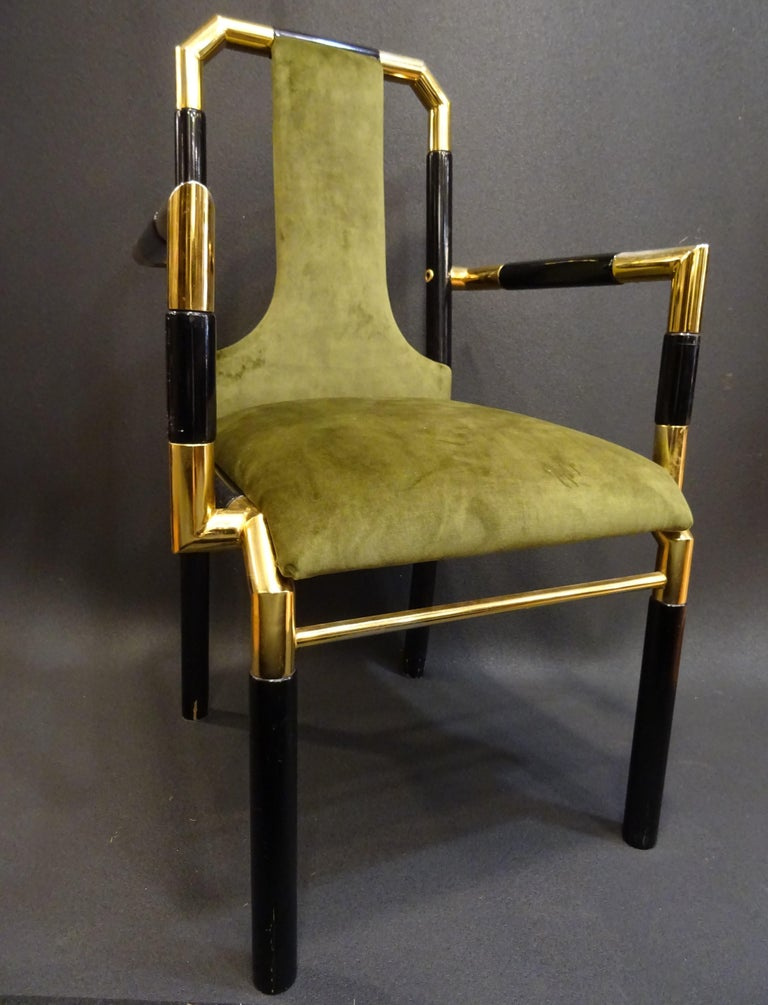 Willy Rizzo Workshop Pair of Armchairs, Green Velvet and Black Lacquered Wood For Sale 7
