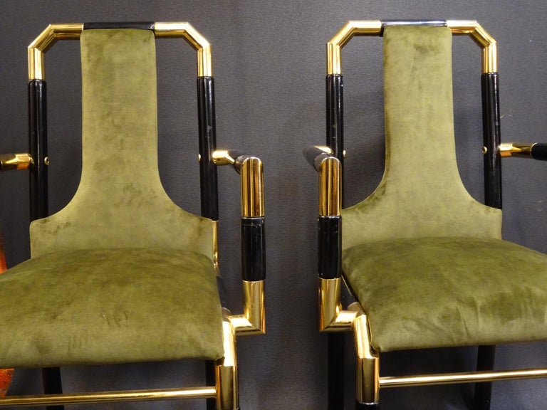 Willy Rizzo Workshop Pair of Armchairs, Green Velvet and Black Lacquered Wood For Sale 8