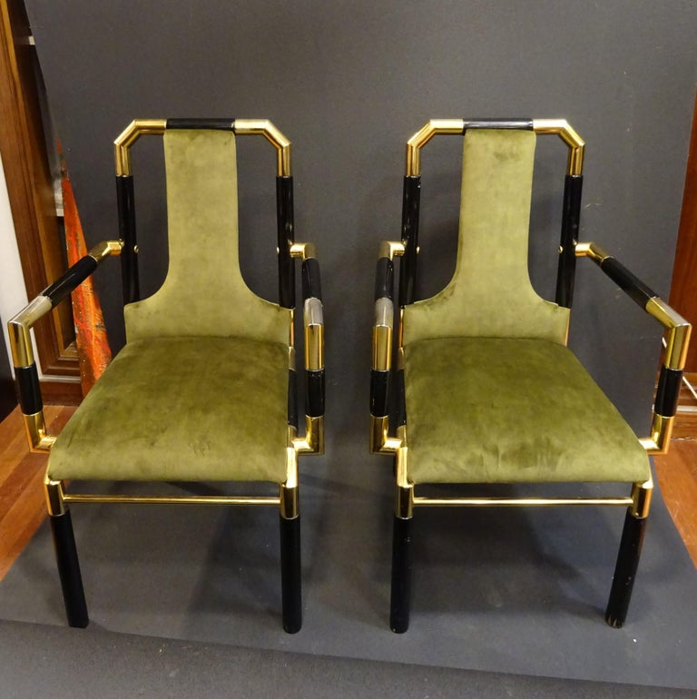 Willy Rizzo Workshop Pair of Armchairs, Green Velvet and Black Lacquered Wood For Sale 9