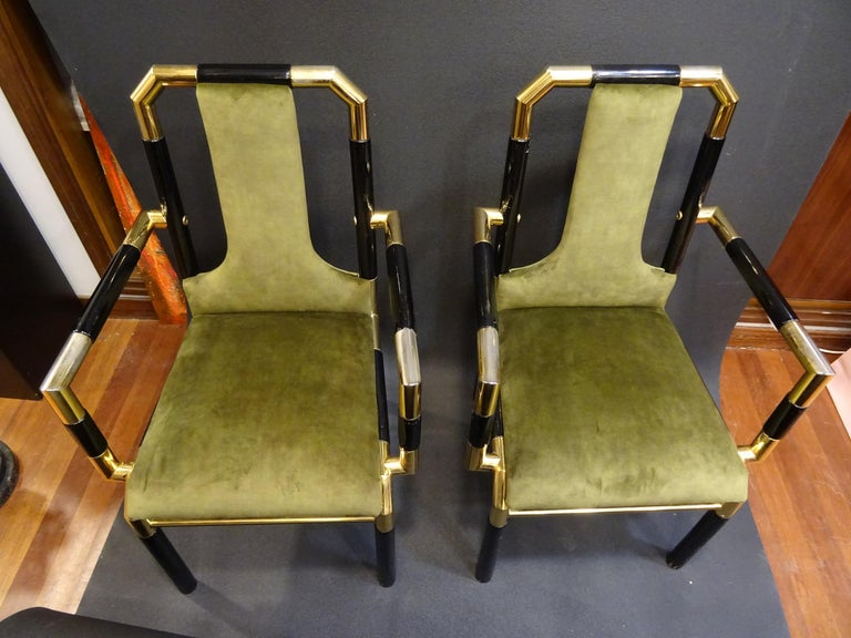 Willy Rizzo Workshop Pair of Armchairs, Green Velvet and Black Lacquered Wood For Sale 10