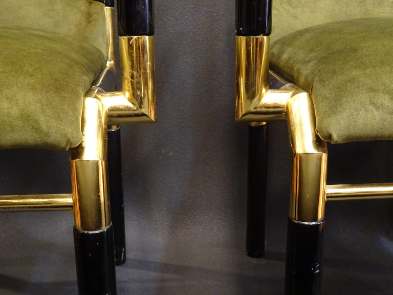 Willy Rizzo Workshop Pair of Armchairs, Green Velvet and Black Lacquered Wood For Sale 11