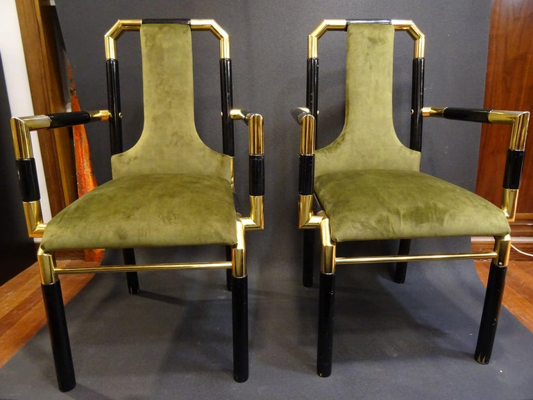 Amazing couple of armchairs by Willy Rizzo workshop, 70s, reupholstered in a beautiful olive green velvet. Black laquered wood with golden brass, very refined pieces suitable for any room, timeless at the same time   with a very trendly