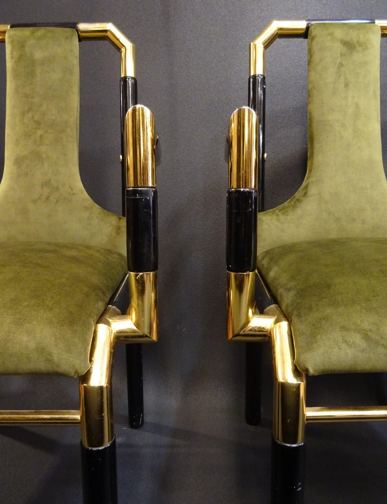 Willy Rizzo Workshop Pair of Armchairs, Green Velvet and Black Lacquered Wood For Sale 12