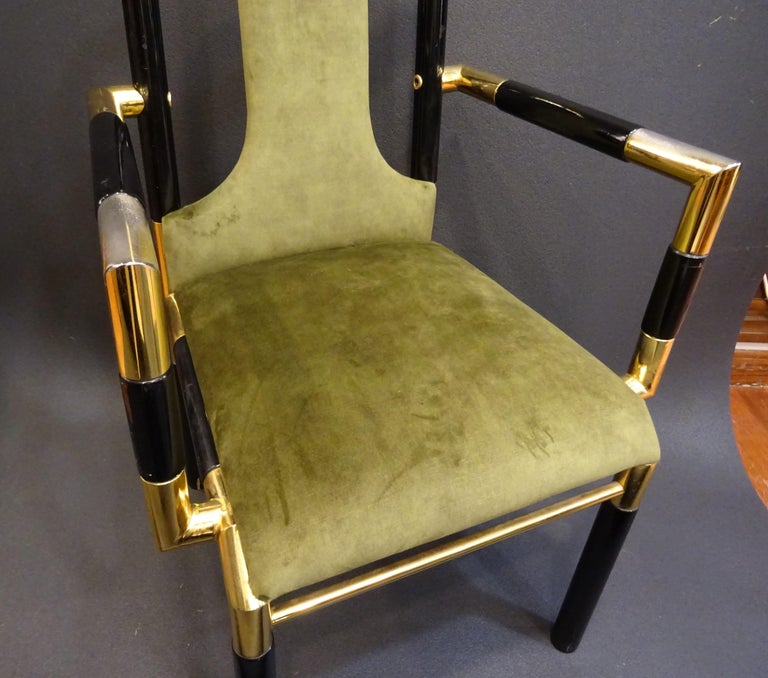 Mid-Century Modern Willy Rizzo Workshop Pair of Armchairs, Green Velvet and Black Lacquered Wood For Sale