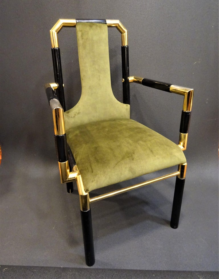 Italian Willy Rizzo Workshop Pair of Armchairs, Green Velvet and Black Lacquered Wood For Sale