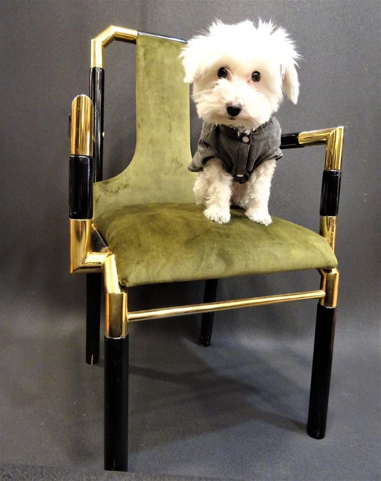 Anodized Willy Rizzo Workshop Pair of Armchairs, Green Velvet and Black Lacquered Wood For Sale
