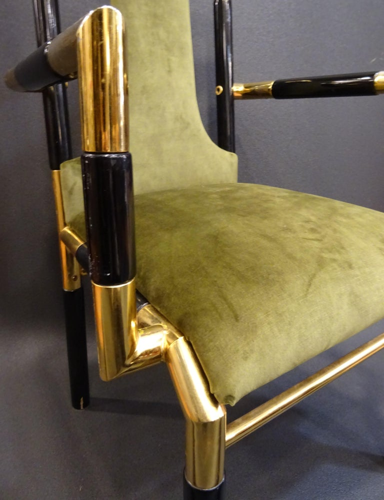Brass Willy Rizzo Workshop Pair of Armchairs, Green Velvet and Black Lacquered Wood For Sale